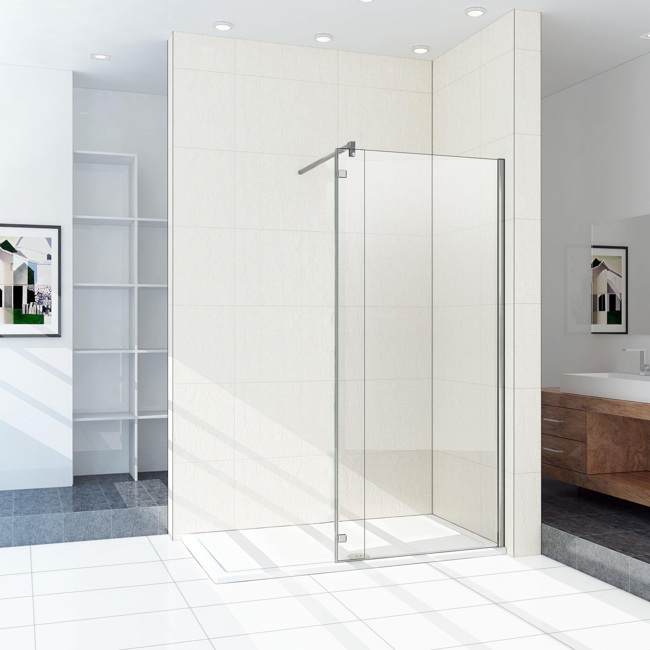 Mampara de ducha con mampara de Bisagra 40 cm Walk In con barra de fijación: Amazon.es: Bricolaje y herramientas
