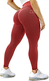 QOQ Women Ruched Butt Lifting Yoga Pants High Waisted Tummy Control Workout Leggings Textured Booty Tights