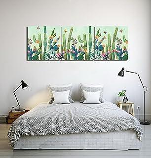 LB Jardín,Planta,Mariposa,Cactus_Cuadro de Pintura al óleo Moderna Impresión de la Imagen en la Lona Arte de la Pared para la Sala de Estar,Dormitorio,decoración del hogar,3 Piezas 40x40,con Marco