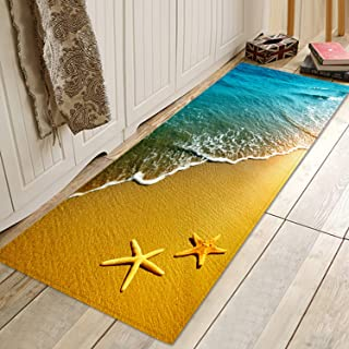 Starfish Beach Sea Water Print Memory Foam Bath Rugs and doormats Non Slip Absorbent Super Cozy Flannel Bathroom Rug Carpet 47x17 inches