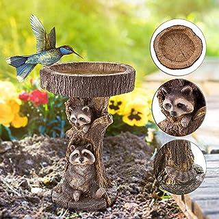 SIMDOO Outdoor Bird Bath Bowl Resin Pedestal Raccoon Fountain Decoration for Yard Wild Bird Feeder Garden Lawn Decorative ...