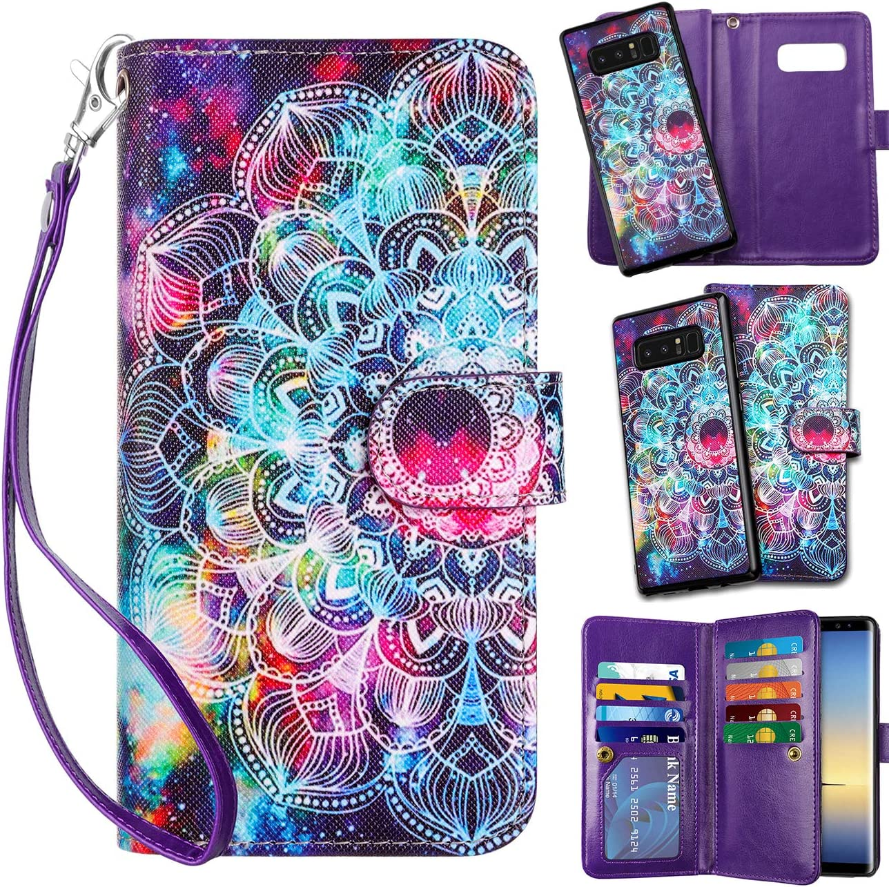 Vofolen 2-in-1 Case for Galaxy Note 8 Case Wallet Card Holder ID Slot Detachable Strap Hybrid Protective Slim Hard Shell Magnetic PU Leather Folio Pocket Flip Cover Case for Galaxy Note 8 Mandala
