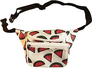 College Fannies | Premium Triple Pocket, Neon Watermelon Fanny Pack, Bum Bag | 80s Dance Party, Weekend Beer Fest Gear (Watermelon)