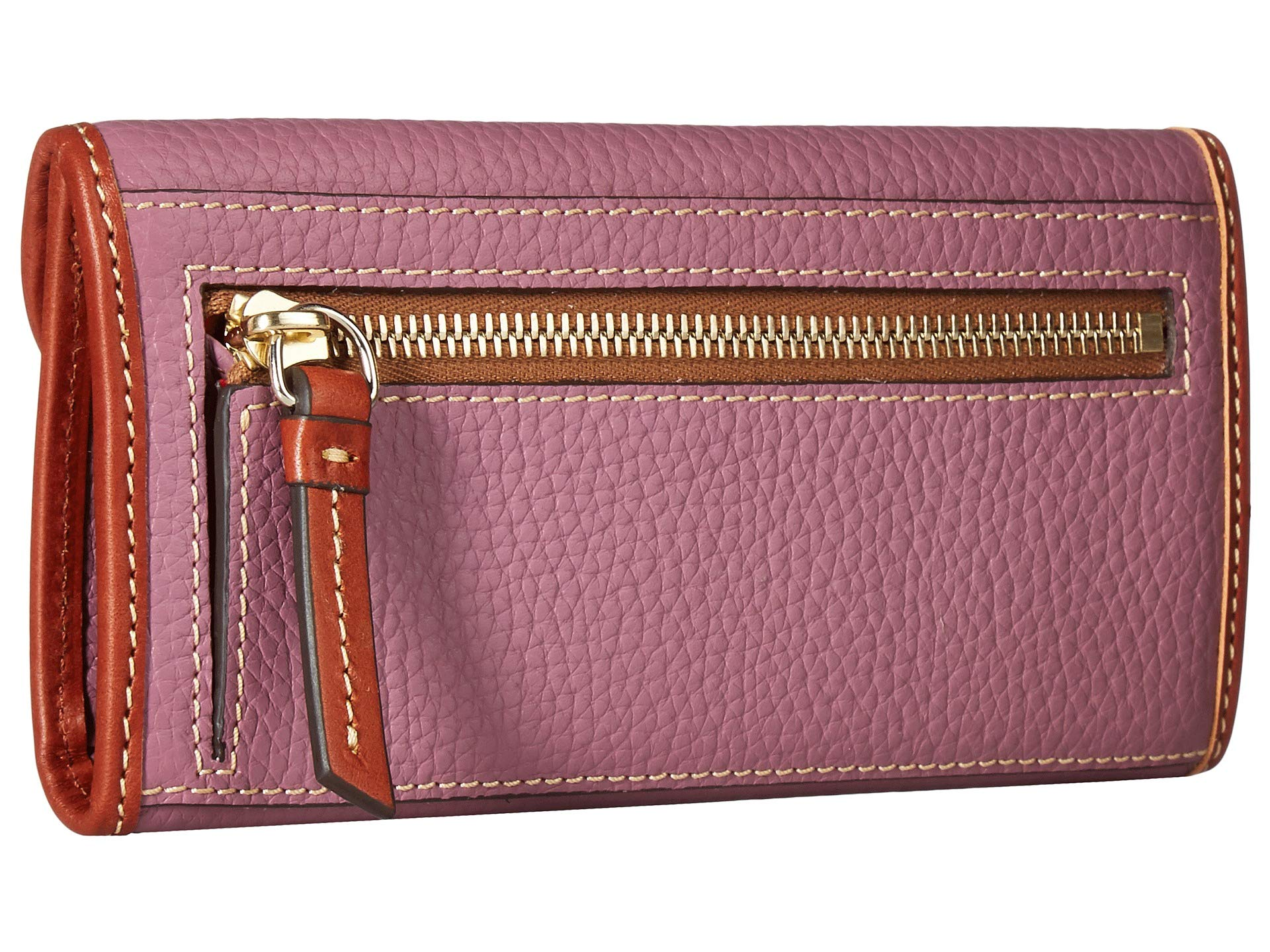 Bourke Dark New Leather Continental Mauve Slgs Pebble Clutch tan Dooney Trim amp; 15gyqwaaC