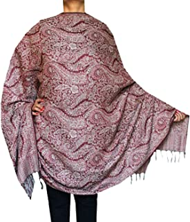 Maple Clothing 女式羊毛披肩涡纹图案印度围巾(82 x 42 英寸)