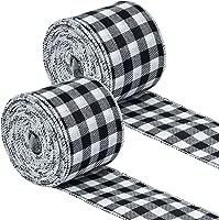 10-Yard Plaid Ice Skates Wired Edge Linen Christmas Ribbon Natural 2-1//2-Inch