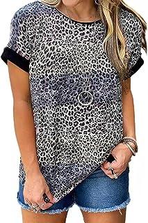 WHZXYDN Zomer dames luipaardprint ronde hals losse korte mouwen T-shirt top