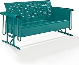 Crosley Bates Metal Gliding Patio Sofa in Turquoise