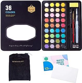 Cheelom Pintura de Acuarela, Set de 36 Colores,Kit de Acuarela Profesional de Gouache con Pincel de Agua, Lápices, Estuche...
