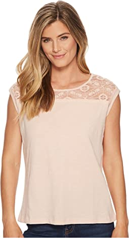 Cap Sleeve Top with Lace Neck Detail
