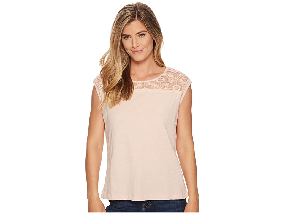 Tribal Cap Sleeve Top with Lace Neck Detail (Camelia) Women