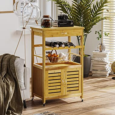 VIAGDO Small Kitchen Island on Wheels, Bamboo Kitchen Cart with Storage Cabinet and Drawer, Rolling Kitchen Island Cart Troll