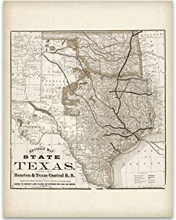 Texas Locomotive Map – Houston and Texas Central Railroad – 11×14..