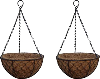 TABOR TOOLS Metal Hanging Planter Basket with Natural Coconut Coir Liner, Water Saving Hanging Flower Pot, Decor Hanging Basket, Chain and Hook Included (12'' Hen Mesh, Brown, MT2106A) (2-Pack)