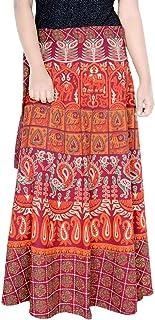 Rajvila Women's Cotton Printed Long 36 Inch Length Regular Wrap Around Skirt Colour (F_W36NT_0005)