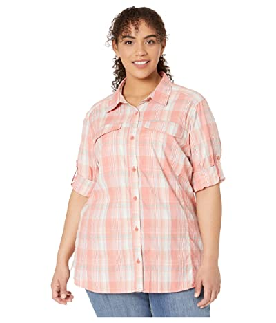 Columbia Plus Size Silver Ridge Lite Plaid Long Sleeve (Dark Coral Medium Multi Plaid) Women