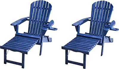 W Home SW2005NV-CL2 Chairs Adirondack Chaise Lounge Set, Navy Blue