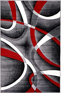 Summit ST34 Area Rug Black Red Gray Modern Abstract Many Aprx Sizes Available , 22'' INCH X 7 FOOT RUNNER