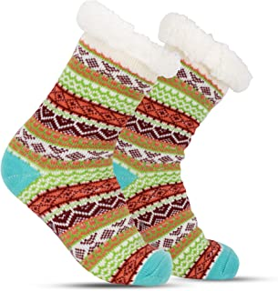 Vintage Slipper Socks with Grippers - Cozy, Warm Stockings - Gifts for Women, Girls - Slippers - Christmas, Winter, Holiday