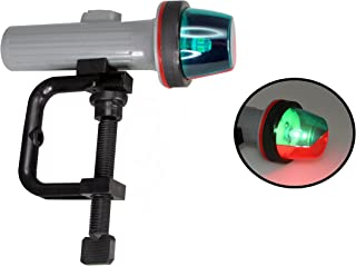 Pactrade 海洋船 LED 便携式双色端口/星板充气器 导航灯电池供电 带/C-夹具支架