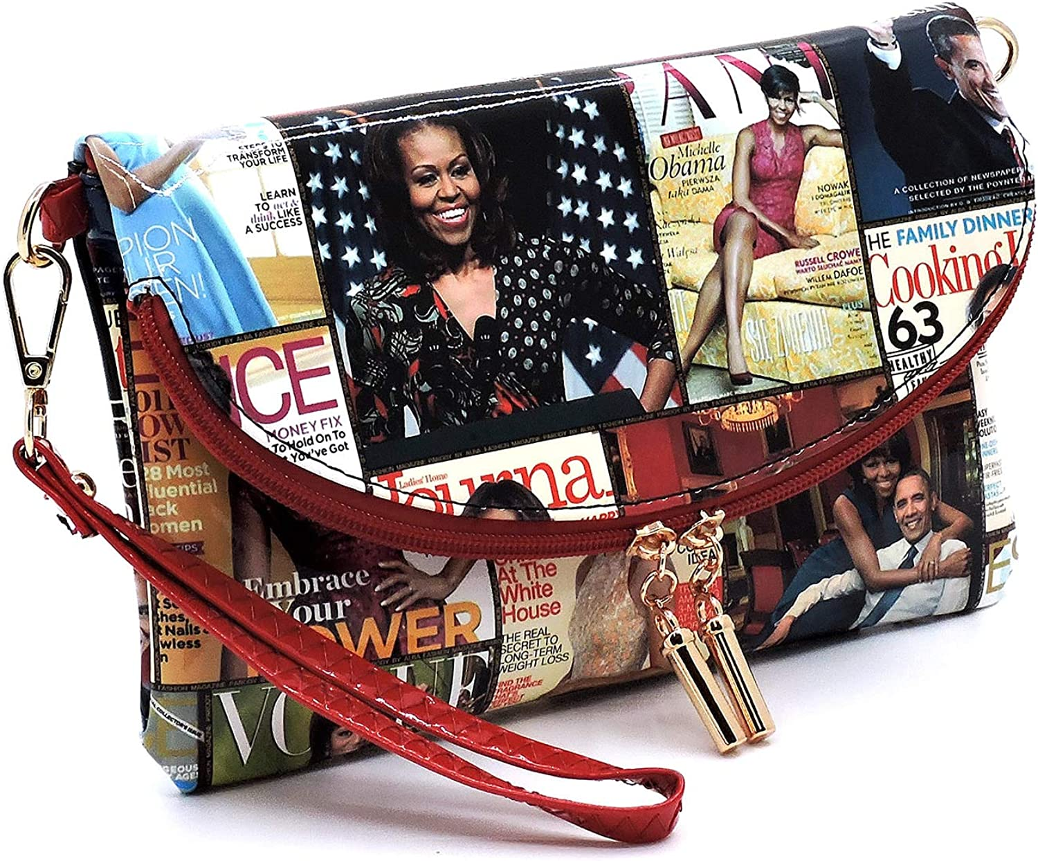 Glossy magazine cover collage clutch bag purses Michelle Obama bags with chain shoulder strap