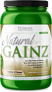 Ultimate Nutrition Natural Gainz Whey Protein Powder - Natural Gainer Protein with Micellar Casein and Milk Protein, Cookies N Cream, 3.6 Pounds