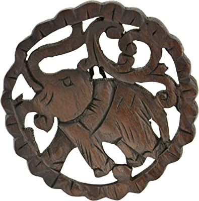 Powerful and Majestic Elephant Hand Carved 6-inch Round Teak Wood Wall Art