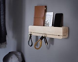 Natuhr llavero de almacenamiento de madera de roble sin tratar sólido DoOrganizer clave titular 35 x 6 x 8 cm barra clave ...