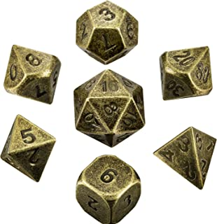Hestya 7 Pieces Metal Dices Set DND Game Polyhedral Solid Metal D&D Dice Set with Storage Bag and Zinc Alloy with Enamel for Role Playing Game Dungeons and Dragons (Bronze Copper)