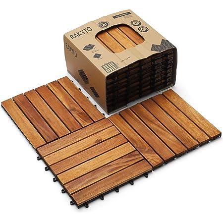 vidaXL 10 pcs Indoor Interlocking Acacia Wood Flooring Deck Decking Tiles Patio Pavers Tiles Acacia Wood and Plastic Corner Edging Trim Tiles Outdoor Decking Boards 11.8x11.8 inch Brown