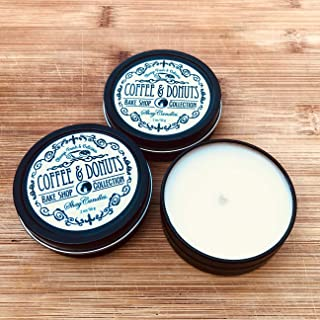 Colombian Coffee, Donuts Scented Candles || Set of Three 2oz Travel Tins ||Coconut Wax ||