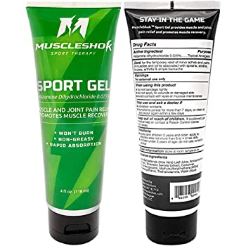 MuscleShok Muscle Therapy Gel with Arnica - Rub On Pain Relief Cream Gel - Muscle and Joint Pain Relief - Sports Gel - Maximum MSM Content - (1 Pack)