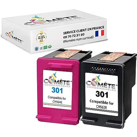COMETE 301 Pack de Cartouche Compatible HP 301 CH562EE Couleur Encre pour Imprimante pour HP Officejet Envy Deskjet (Pack DE 2 Noir+Couleur)