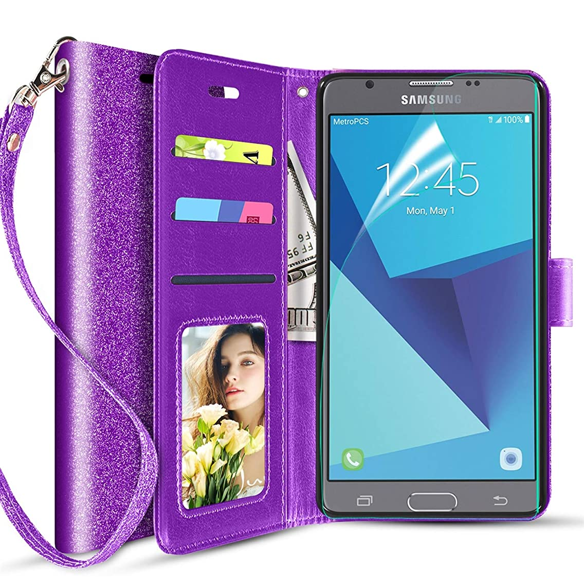 Galaxy J7 2017/J7 V/J7 Perx/J7 Sky Pro/J7 Prime/Galaxy Halo Case w/Built-in Screen Protector Refine Rugged Luxury PU Leather Magnetic Flip Crown Star Bling Full-Body Protective Cover-Purple