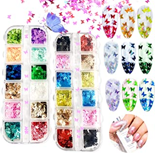 Zoweys 24 Color 3D Butterfly Nail Art Glitter Sequins,Laser Nail Art Flake Acrylic Paillettes,Holographic Nail Sparkle Glitter for Nail Art Decoration(2 Boxes)