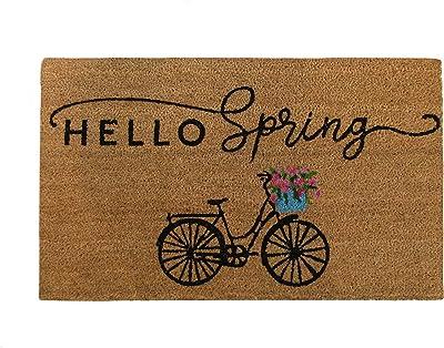 "Elrene Home Fashions Farmhouse Living Hello Spring Bike Coir Door Mat, 18""x30"""