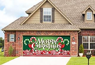 Victory Corps Outdoor Christmas Holiday Garage Door Banner Cover Mural Décoration 7'x16' - Christmas Candy Outdoor Christmas Holiday Garage Door Banner Décor Sign 7'x16'