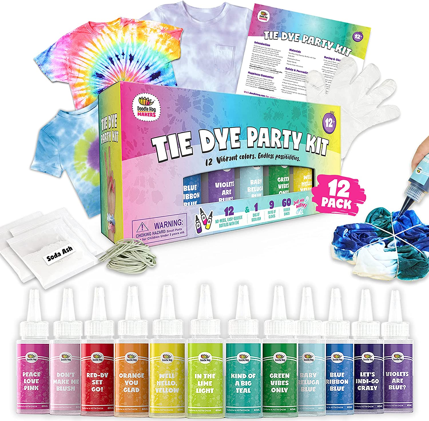 Doodlehog Easy Tie Dye Party Kit for Kids, Adults, and Groups. C