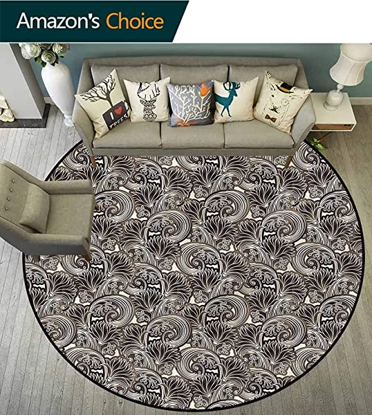 Floral Dining Room Home Bedroom Carpet Floor Mat Chrysanthemums And Berries Non Slip Living Room Soft Floor Mat Round 31
