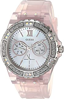 GUESS Women's Analog Quartz Watch with Silicone Strap, Pink, 18 (Model: GW0041L2)