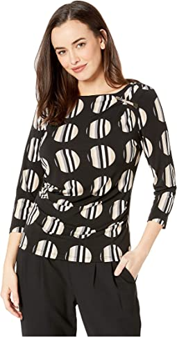 Printed 3/4 Sleeve Top with Ruching and Bar