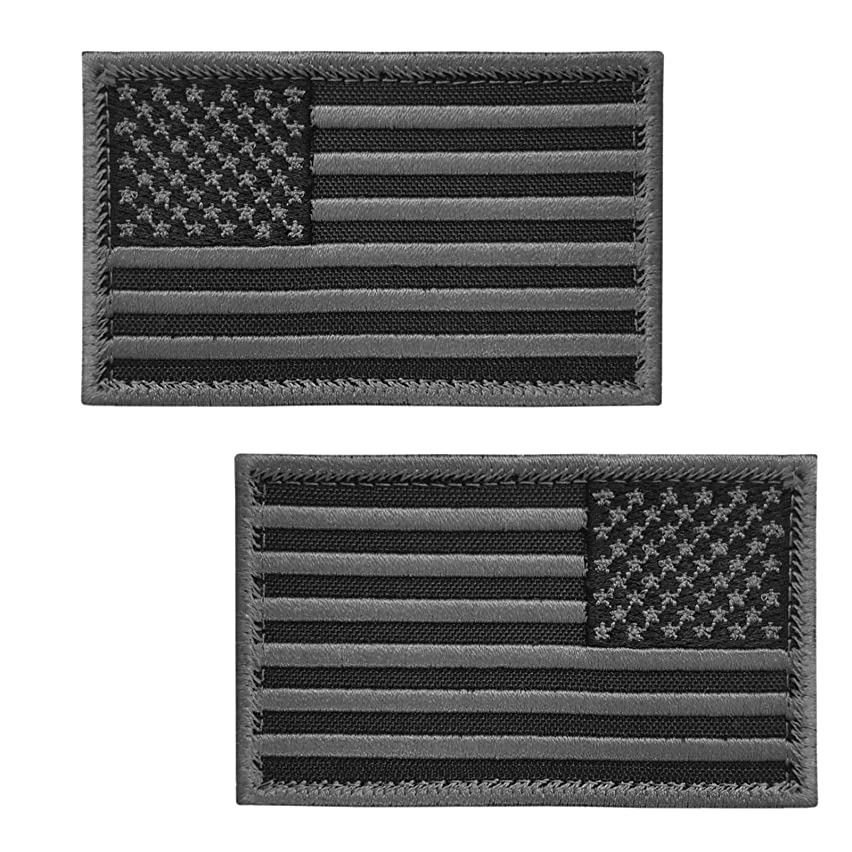 LEGEEON Set of 2 Hook&Loop Patches ACU Black USA American Flag ISAF Morale Tactical Army