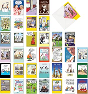 NobleWorks, Birthday Bestsellers - 36 Assorted Happy Birthday Greeting Cards with Envelopes - Adult Bday Comic Cartoons AC...