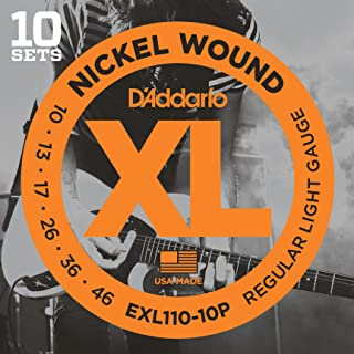 D'Addario XL Nickel Wound Electric Guitar Strings, Regular Light Gauge – Round Wound with Nickel-Plated Steel for Long Lasting Distinctive Bright Tone and Excellent Intonation – 10-46, 10 Sets