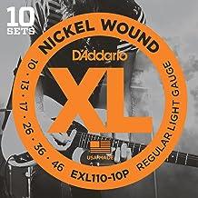 D'Addario EXL110-10P - Juego de cuerdas para guitarra eléctrica de acero y níquel, .010-0.046