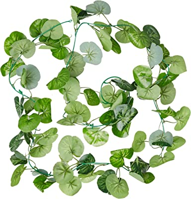 Fourwalls Polyester Artificial Green Ivy Vines/Leaves (10 cm x 10 cm x 195 cm, Green, Set of 2)