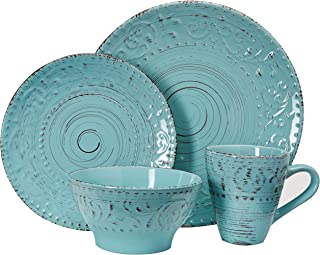 Elama ELM Malibu Waves 16-Piece Dinnerware Set in Turquoise, 16pc