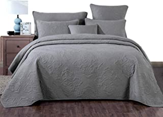 DaDa Bedding Stone Washed Grey Elegant Floral Bedspread - Matelassé Ash Silver Diamond Pattern Quilted Vintage Quilt Coverlet Set - Cal King - 3-Pieces