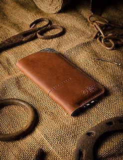 iPhone 12, 12 Pro, 12 Pro Max, 12 mini Funda/Cartera de cuero del Crazy Horse hecha a mano marrón, fieltro de lana, iPhone...