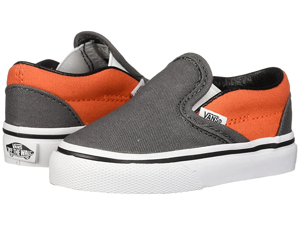 Vans Kids Classic Slip-On (Infant/Toddler) (Pewter/Flame) Boys Shoes